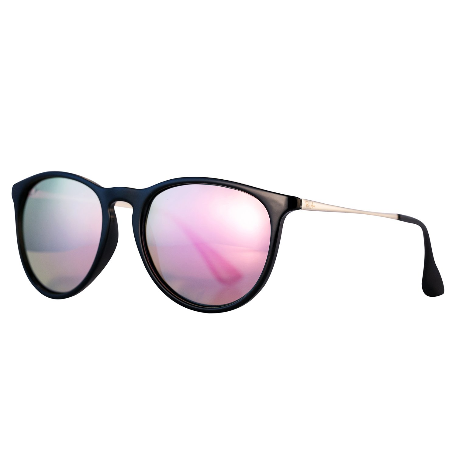 Pro Acme Classic Round Polarized Sunglasses for Women Vintage Brand Designer Style (Black Frame/Pink Mirrored Lens) by Pro Acme