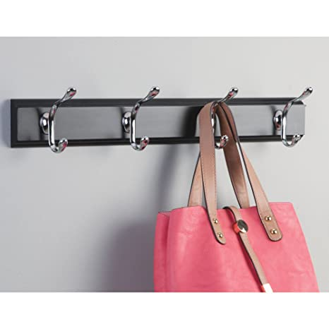 InterDesign Paris Wall Mount Storage Rack – Hanging Hooks for Jackets, Coats, Hats and Scarves - 4 Dual Hooks, Matte Black/Chrome