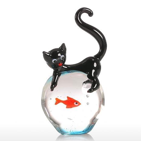 Tooarts - Gato y Pez Dorado - Estatua de Cristal Hecho a Mano Regalo de Vidrio