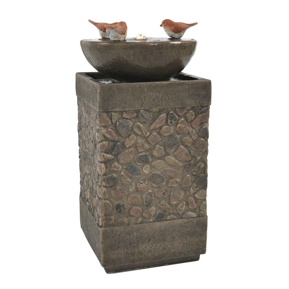 Sunnydaze Three Bathing Birds Outdoor Birdbath Water Fountain with LED Light, 25 Inch, Includes Electric Pump