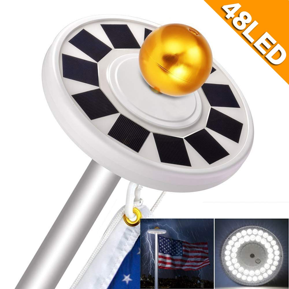 NAIYO New Generation 48LED.Solar Flag Pole Light, Flagpole Solar LightDownlight Lighting for 15 to 25 Ft Flag Pole Topper, 3 Modes,IP67 Waterproof Auto On/Off Night Light (48 LED)