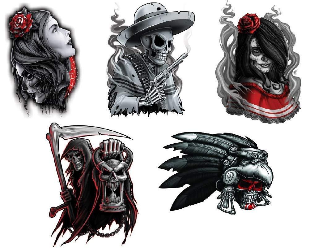 3f65de1482c16 Amazon.com : Black & Red Waterproof Temporary Tattoos Set of 5 pcs - Aztec  Warrior Skull   Reaper   Senorita - Hands Shoulders Chest Temporary Tattoo  Body ...