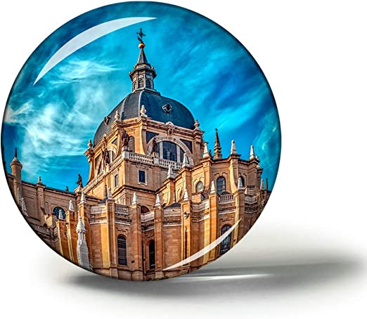 Hqiyaols Souvenir España Catedral de la Almudena Madrid Imanes Nevera Refrigerador Imán Recuerdo Coleccionables Viaje Regalo Circulo Cristal 1.9 Inches: Amazon.es: Hogar