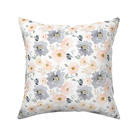 Amazon.com: Roostery Floral Organic Sateen Throw Pillow Ibd ...