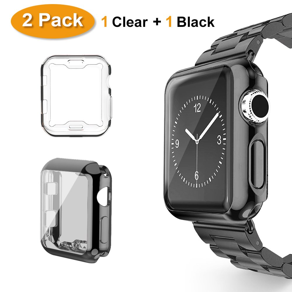 separation shoes f7c6e ec05f Haojavo for Apple Watch Case 38mm 2 Pack, for iWatch Screen Protector TPU  All-Around Full Front Protective Case Cover for Apple Watch Series 3,  Series ...