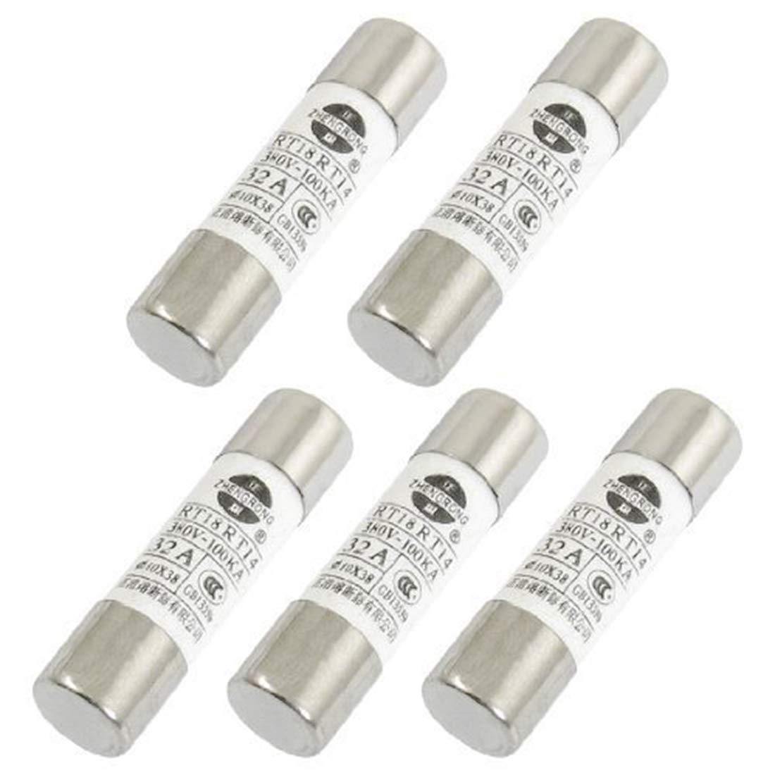 Aodesy 380V 32A Fast Acting Ceramic Cartridge Fuse Low Breaking Cylinder Cap Ceramic Fast Blow Fuse Links 10x38mm,Pack of 5 Shenzhenshiaodesiwujinjidianyouxiangongsi