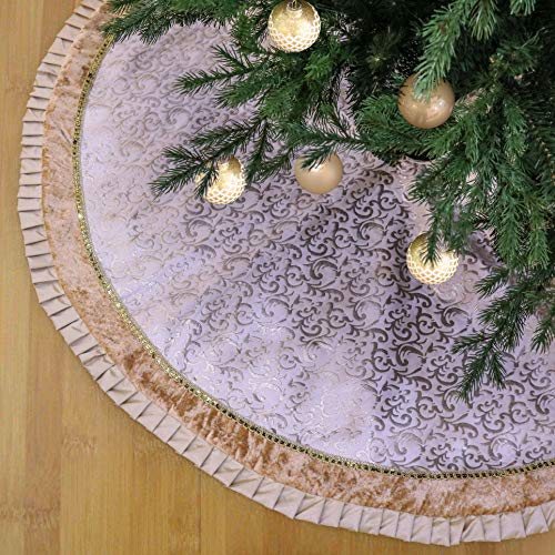 Teresas Collections 48 Luxury Gold Beige Baroque Christmas Tree Skirt Lace Trim, Themed Christmas Ornaments (Not Included)