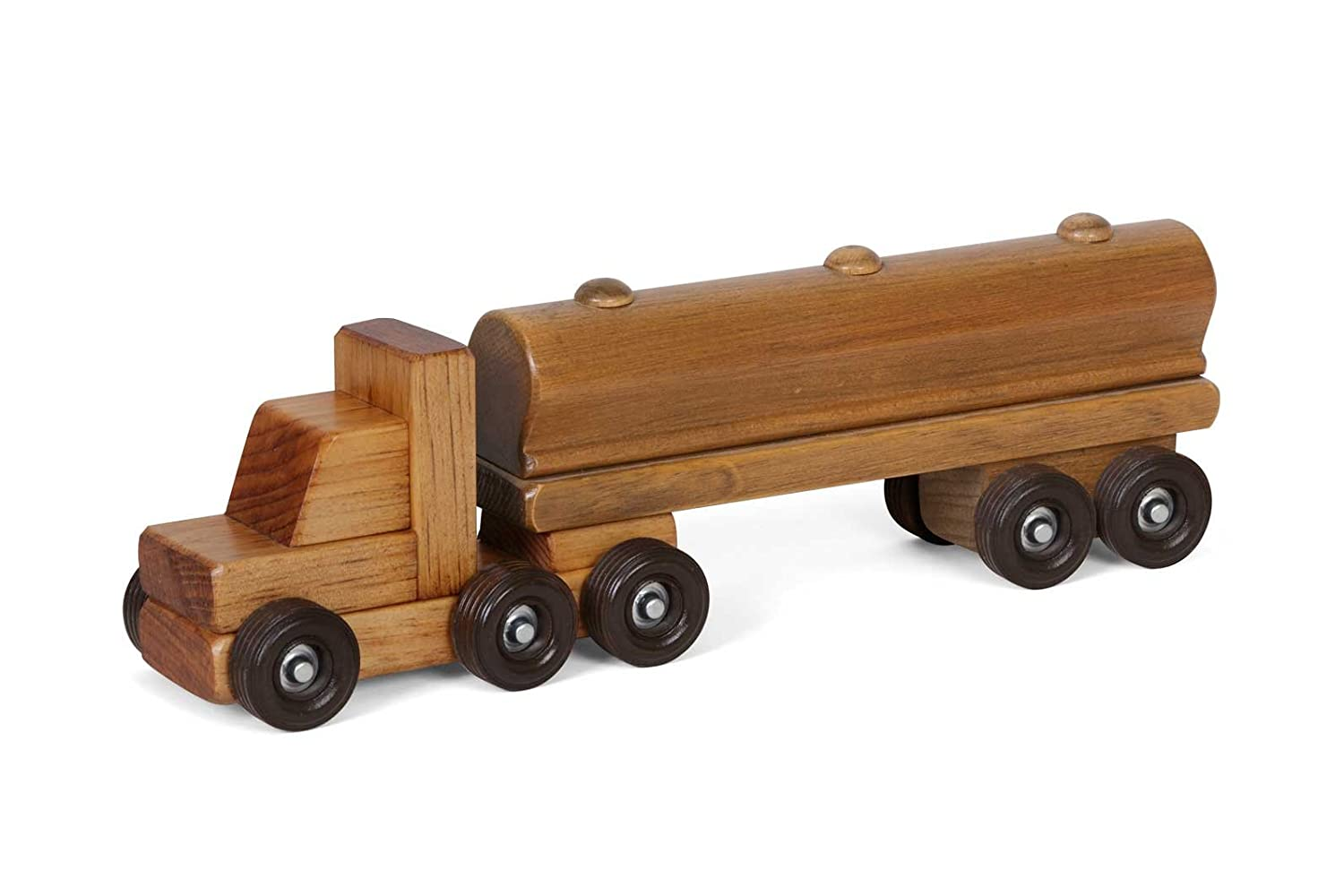 Amish-Made Wooden Semi Tanker Truck Toy Lapps Toys
