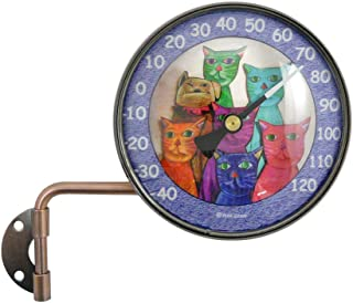 """product image for American Made 4"""" Wall Mount Swivel Copper Dial Thermometer with Clowder of Cats Art"""