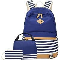 FEWOFJ Mochila Escolar Chicas Lona Vintage Backpack Canvas Casual + Bolsa del Almuerzo + Monedero Grande 3pcs (Floral…