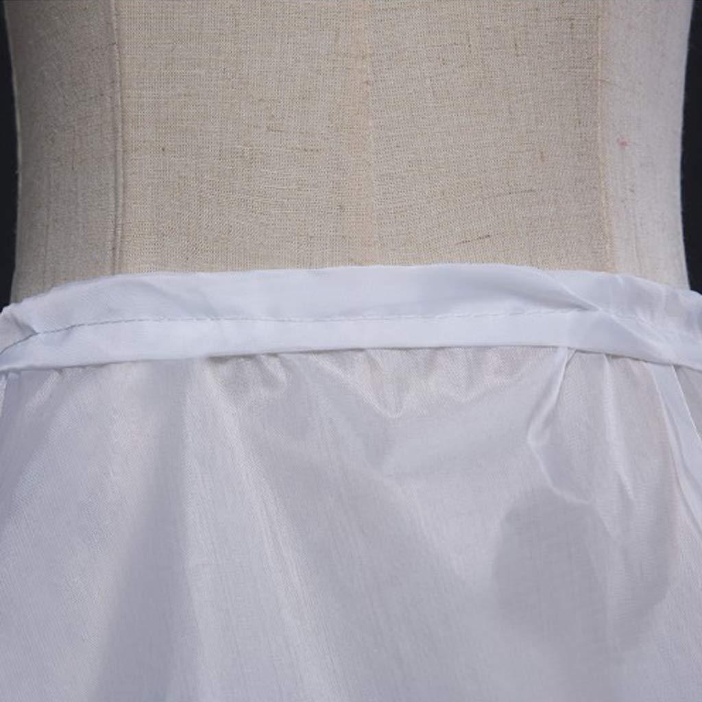 BINGHONG3 65cm Flower Girls 2 Hoops White Underskirt Wedding Petticoat Children Elastic Waist Drawstring Kids One Layer Half Slip Crinoline