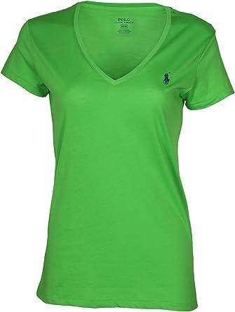 Ralph Lauren - Camiseta de manga corta con cuello en V para mujer ...