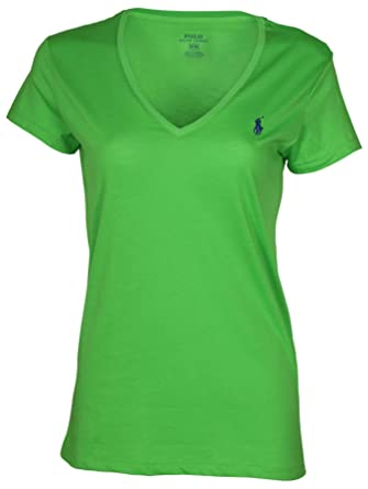 54e438bb Polo Ralph Lauren Womens V-Neck Jersey T-Shirt (Green, M) at Amazon Women's  Clothing store: