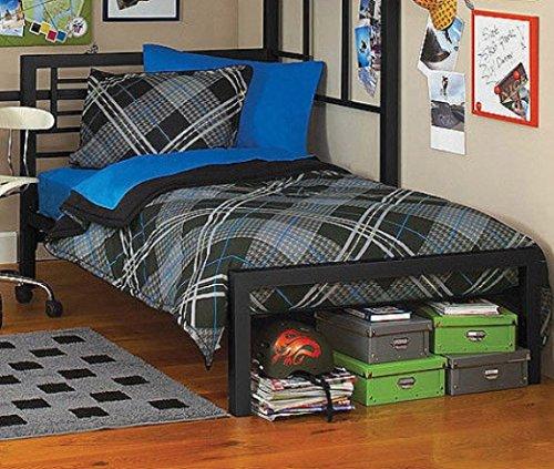 [Full or Twin Bed Black or Silver Metal Frame Kids Bedroom Dorm Under Loft Beds (Black, Twin)] (Metal Dorm Loft Beds)