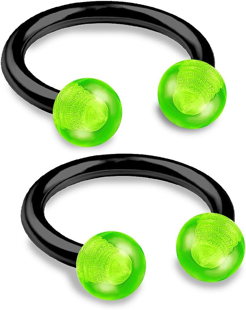 bodyjewellery 2pcs 16g 5/16 Horseshoe Ring Septum Catilage Hoop Nose Lip Tragus Forward Helix Black Anodized Acrylic Ball - Pick Color