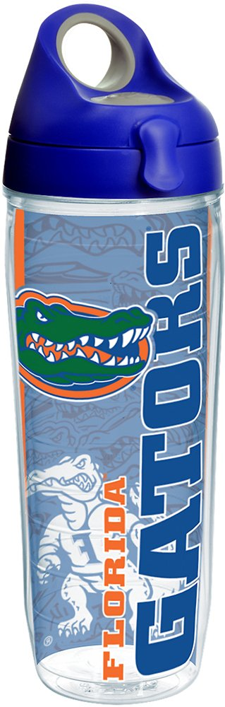 Tervis 1215473 Florida Gators College Pride Tumbler with Wrap and Blue with Gray Lid 24oz Water Bottle, Clear