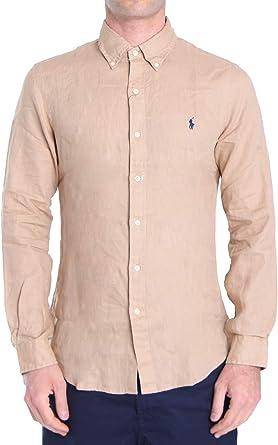 Polo Ralph Lauren Mod. 710799708 Camisa Lino Slim Fit Hombre Beige XXL: Amazon.es: Ropa y accesorios