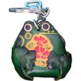 Genuine Leather Key-chain/bag-charm, a lovely Fat sitting Frog Shape, Green