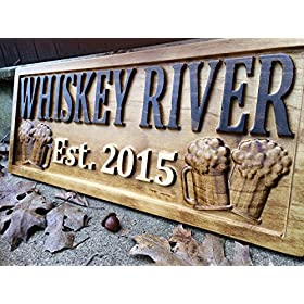 Personalized Bar Sign Custom Carved Wood Sign Personalized Wood Sign Groomsmen Gift Cabin Sign Man C