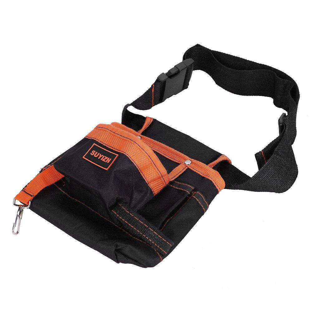 Paquete de bolsa de cintura compacta y multiusos Herramienta de artilugio Correa de cintura ajustable Bolsas de herramientas con cintur/ón Black, Grey Edge Herramienta de bolsa con cierre