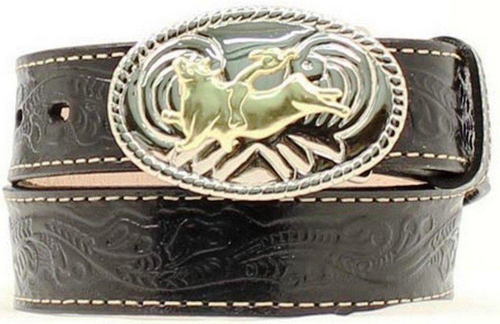 Nocona Boy's Bull Rider Buckle Belt, Black, 24