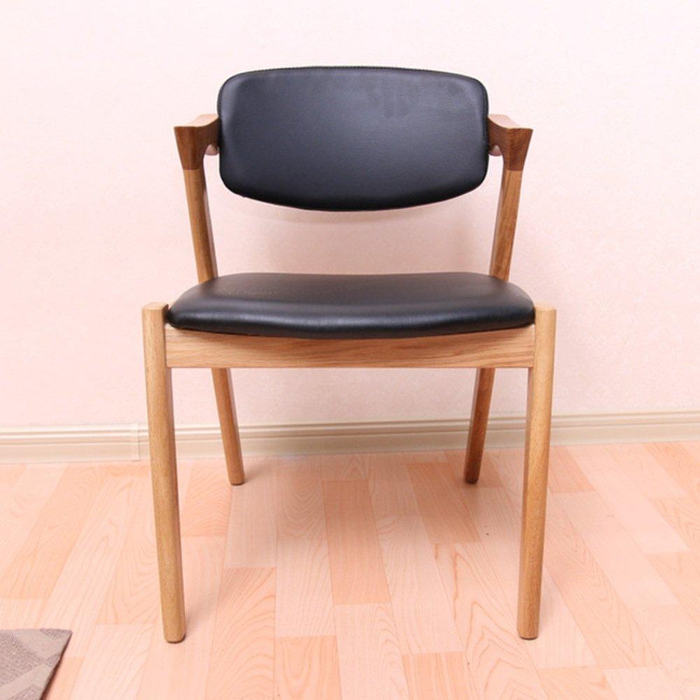 ZEMIN ダイニングチェア椅子の木の木製折り畳み 椅子ソファシートスツールテーブルポータブルソリッドウッドパッド入りマルチファンクションアームレストバックレスト、54x51x75CM、2色使用可能 ( 色 : ブラック ) B078RJJG9Fブラック