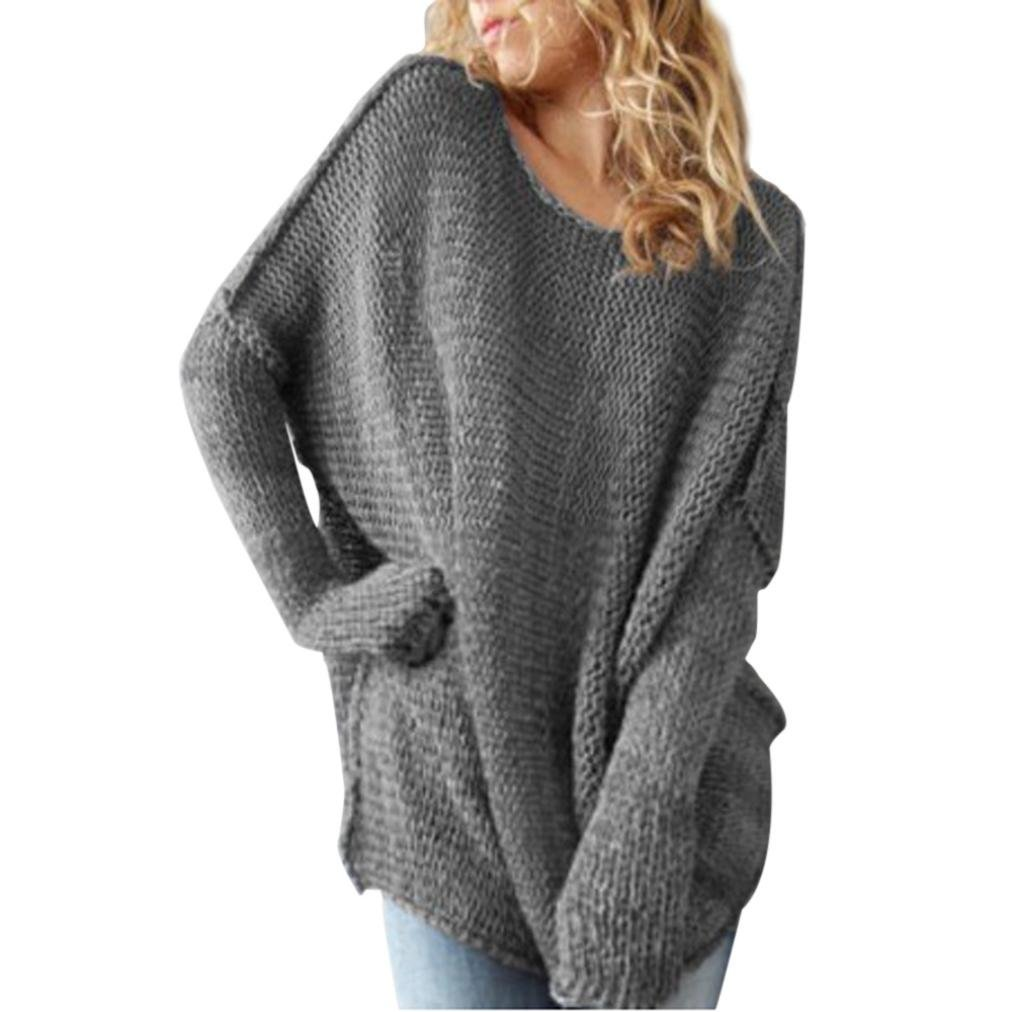 Photno Women Loose Long Sleeve Oversize Sweatshirt Jumper Pullover Sweater Shirt Tops (L, Grey) by Photno