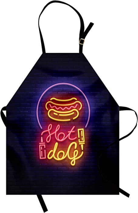 Ambesonne Snack Apron, Colorful Neon Sign Like Yummy Design on Bricks for Hot Dog Fast Food Stands Carts, Unisex Kitchen Bib with Adjustable Neck for Cooking Gardening, Adult Size, Indigo Mustard
