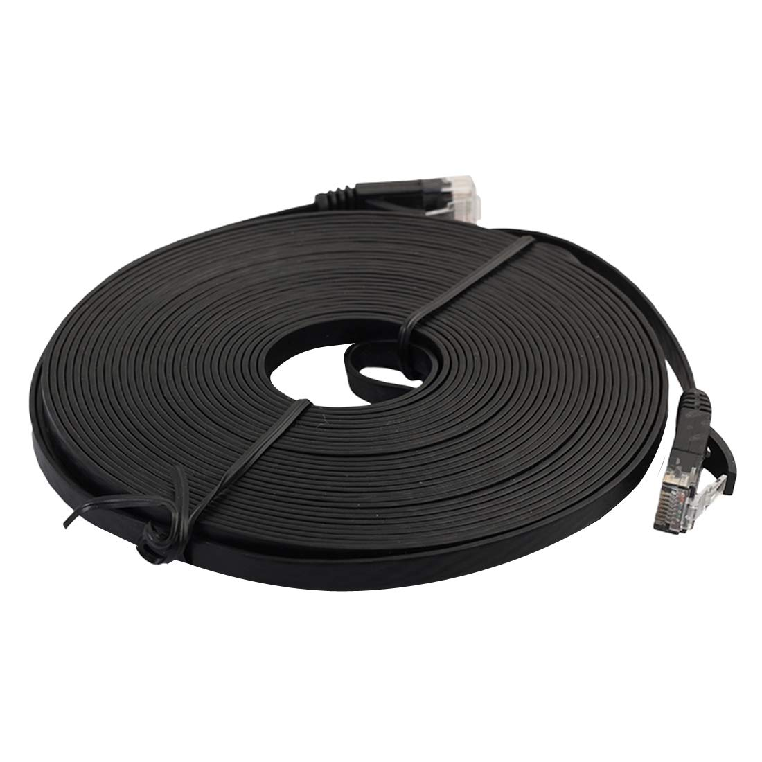 HEGGW 7.6m CAT6 Ultra-Thin Flat Ethernet Network LAN Cable Black Patch Lead RJ45 Color : Black