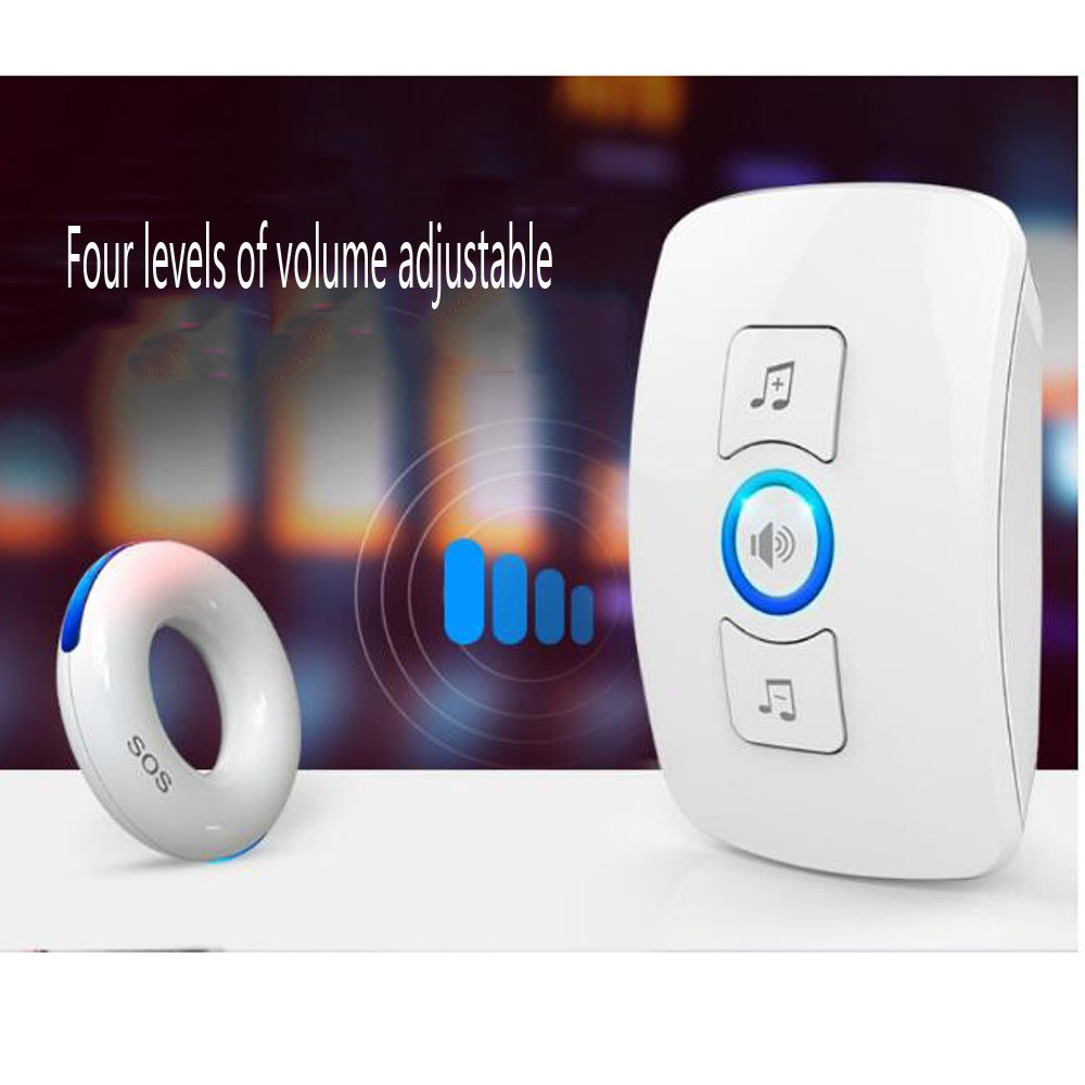 Elderly Pager Smart Remote Control Home Intercom Medical Portable Lanyard Wireless Pager Alarm Ringing Emergency Call Pager,White1Button+1Host