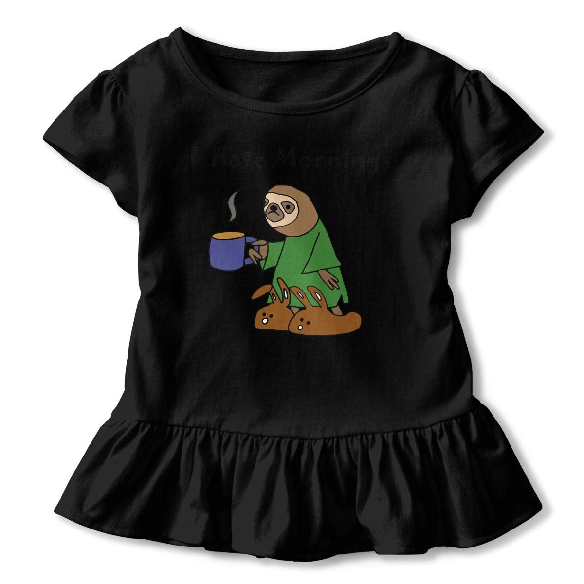 SHIRT1-KIDS Funny Sloth Hates Mornings Toddler//Infant Girls Short Sleeve T-Shirts Ruffles Shirt Tee for 2-6T