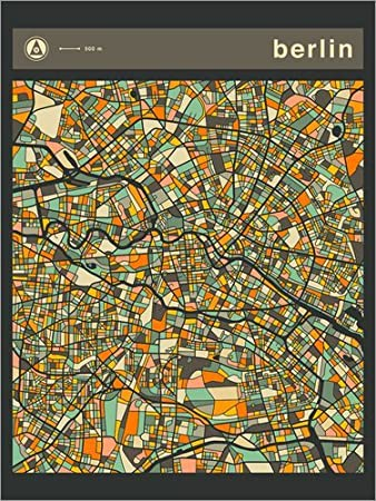 Posterlounge Forex 30 x 40 cm: Berlin Map di Jazzberry Blue