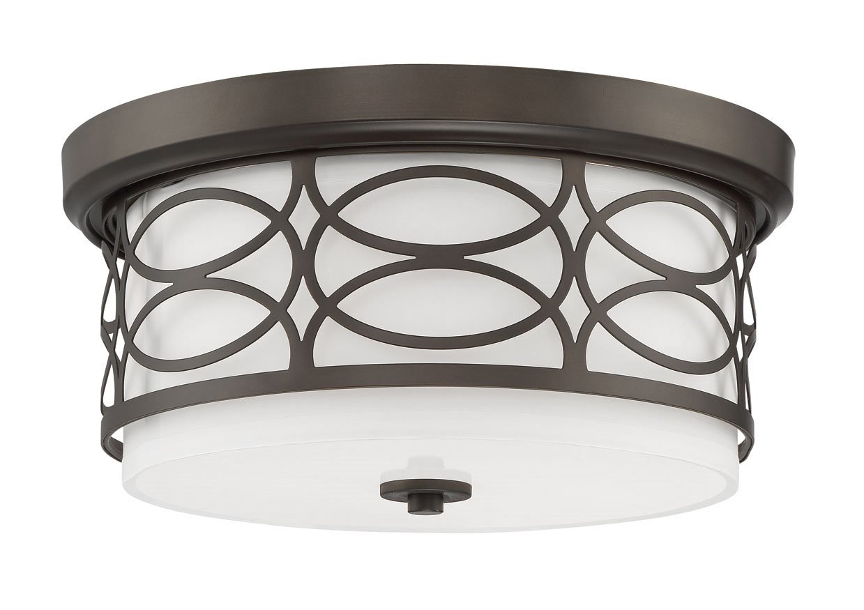 Kira Home Sienna 13'' 2-Light Flush Mount Ceiling Light + Glass Diffuser, Oil-Rubbed Bronze Finish by Kira Home (Image #1)