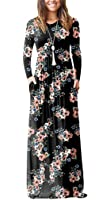 OFEEFAN Women's Casual Loose Long Sleeve Floral Maxi Dresses with Pockets
