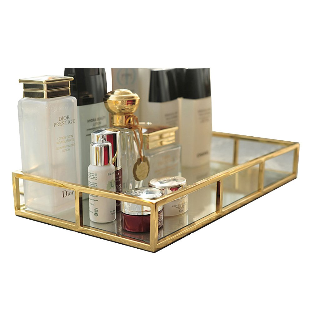 1920s Makeup Starts the Cosmetics Industry- History Hersoo Vintage Mirrored Glass Metal Tray for Makeup &Jewelry Organizer Ornate Decorative for Vanity $30.99 AT vintagedancer.com