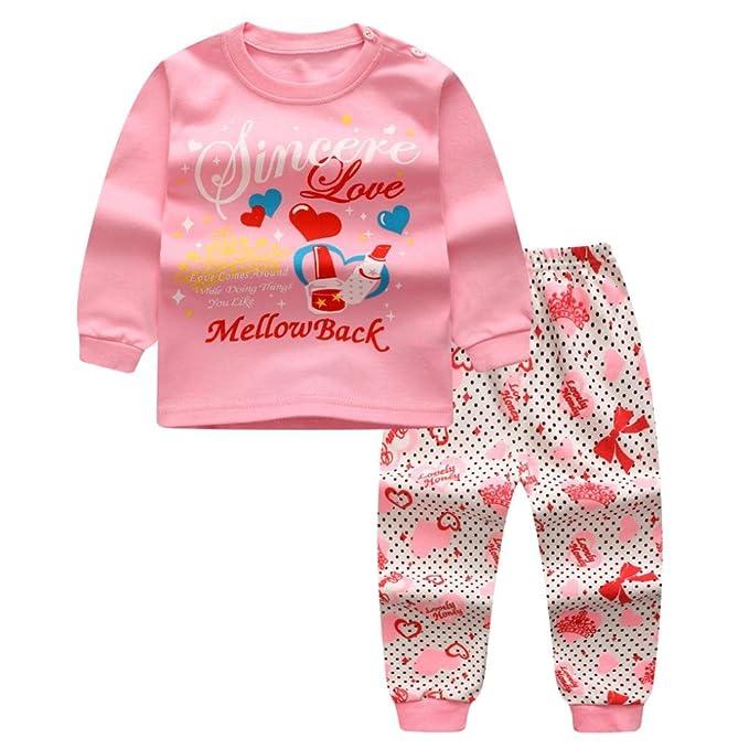 Yannerr 2PCS Bebé niña niño Dibujos amor lápiz labial letra Inferior camiseta tops+pantalones Conjunto