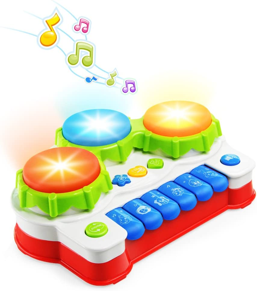 NextX Baby Musical Toys, Toddler Learning Music Drum Piano Toy, Development Musical Toy for 6 Months Infant Baby, with Music and Lighting Up: Toys & Games