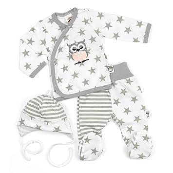 a74b4934fa7aeb Makoma Baby Set Wickelshirt + Hose + Mütze weiß-grau