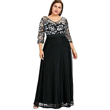 76c22d8f99a DEZZAL Women s Plus Size 3 4 Sleeve Floral Sequined Tulle Evening Maxi Dress  (Black