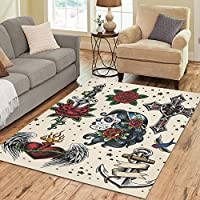 InterestPrint Floor Rugs Mat Custom Tattoo Flash Area Rugs Modern Carpet for Home Dining Room Living Room Decoration Size 7x5