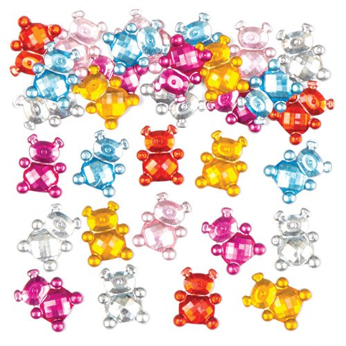 Baker Ross Teddy Bear Self-Adhesive Acrylic Jewels for Children to Decorate and Personalize Cards & Crafts. Gem Stickers for Kids (Pack of 150)