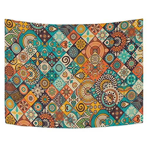 - WIHVE Tapestry Vintage Marble Mexican Ceramic Tile Medallion Pattern Wall Hanging Art Home Decor Polyester Tapestry for Living Room Bedroom Bathroom Kitchen Dorm 60 x 51 Inches