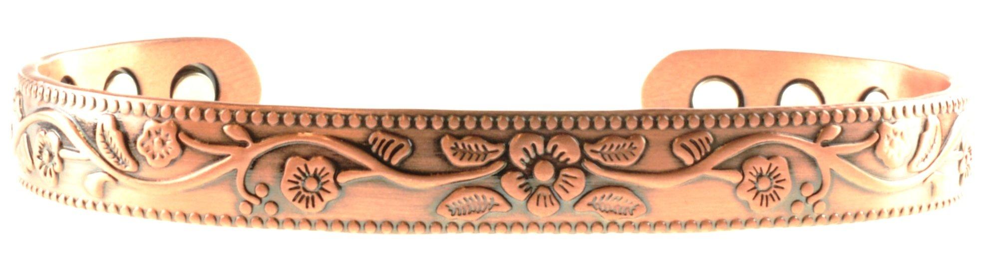 Elegant Stunning Copper Magnetic Bracelet with Unique Elderflower Flower Design Brass Bangle For Arthritis; Magnetic Copper Bracelet Therapy