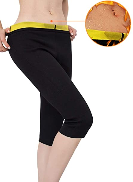 520edad131 Image Unavailable. Image not available for. Color  Womens Slimming Pants  Neoprene for Weight Loss Hot Thermo Sweat Sauna Capris Leggings