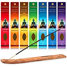 Incense - 7 Chakras Root To Crown Incense Set - 140 Sticks - Free Of Nasty Chemicals Like Charcoal And Other Accelerant- Fills The Room With The Perfect Aroma - 100% Natural - Lasts 60+ Minutes