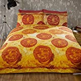 Pizza Double Bed Quilt Duvet Cover and 2 Pillowcase Bedding Bed Set Novelty Funky Food by Rapport