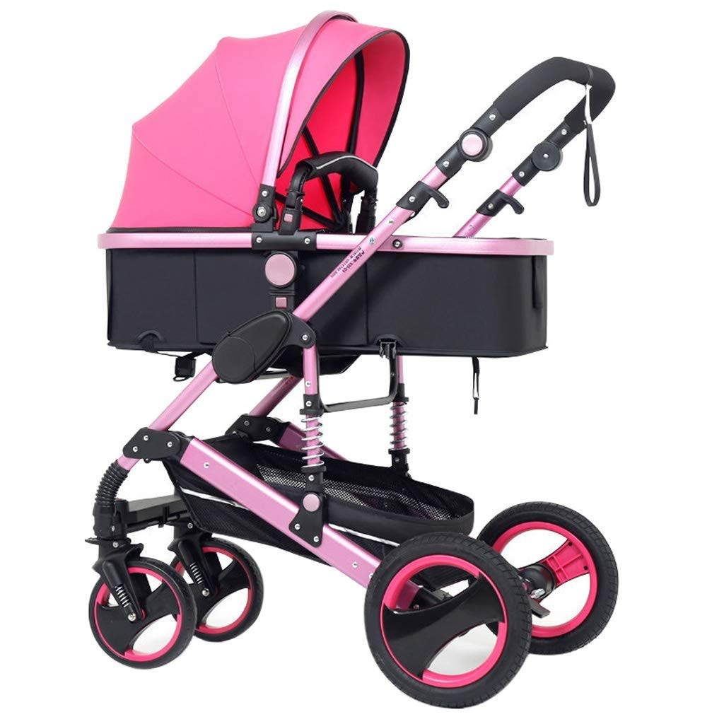 Zsail High View Baby Stroller Foldable 4 Wheel Two Way Suspension Infant Pushchair Adjustable Newborn Car Sleeping Basket (Color : Pink)
