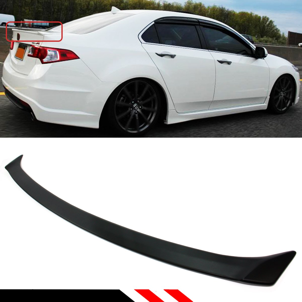 Cuztom Tuning Fits for 2009-2014 Acura TSX Euro R(Accord) Sport Style Flush  Fit Rear Trunk Deck Lid Spoiler Wing