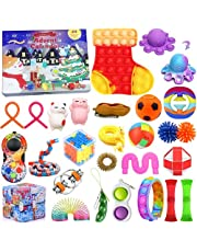 Christmas Fidget Toys 24 Days Countdown Advent Calendar with 27PCS Fidget Pressure-Relief Toys Pack, Sensory Fidget Toy Pack with Storage Box, Stress Relief and Anti-Anxiety Fidget Toy for Kids Adults