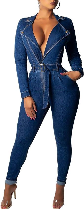 Women Jumpsuit Zipper Turn Down Collar Bodycon Long Pants Rompers